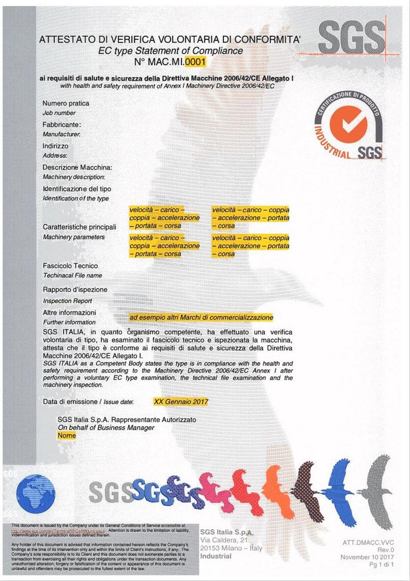 attestato di verifica volontaria di conformita ec type statement of compliance